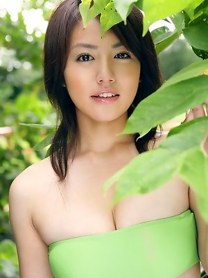 Sayaka Isoyama Asian takes shorts off and shows big cans in bra